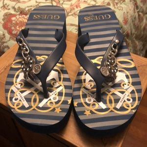 Guess Blue & Gold Nautical Wedges with charms